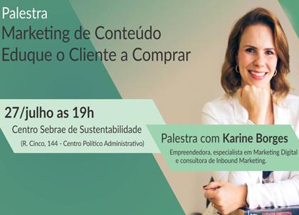 Palestra Sebrae sobre Marketing de Conteúdo com Karine Borges