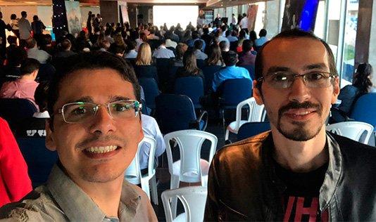 SEO da Kasterweb Douglas Villar e o jornalista Vinicius Tarouco participaram do evento